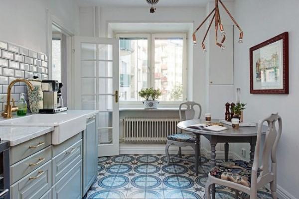 скандинавский стиль в интерьере кухни напольная плитка с узорами