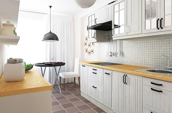 скандинавский стиль в интерьере кухни напольная плитка цвета шоколада