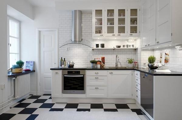 скандинавский стиль в интерьере кухни напольная плитка в виде шахматной доски