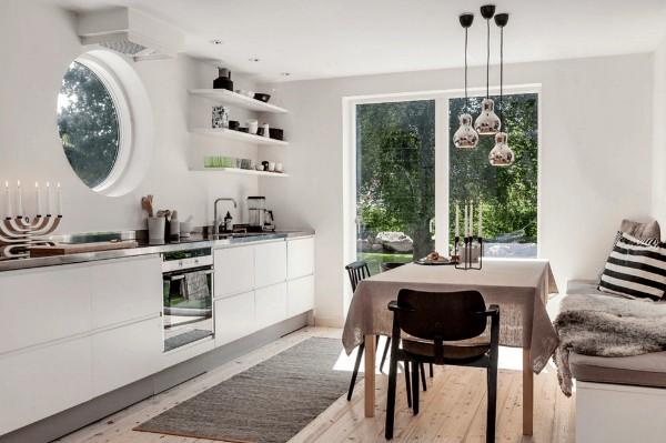 скандинавский стиль в интерьере кухни нетривиальный дизайн