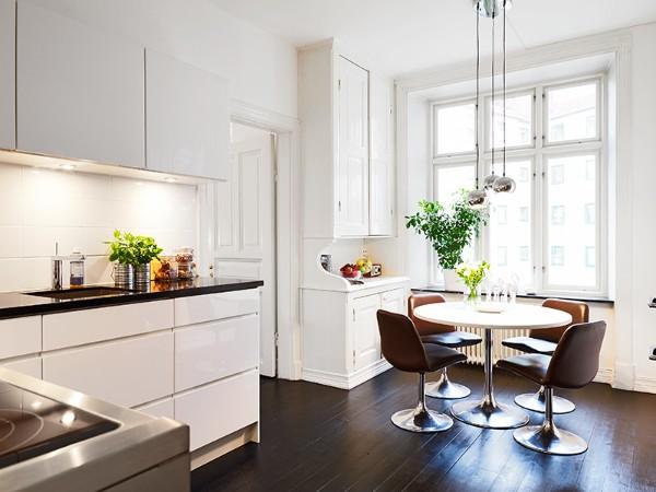 скандинавский стиль в интерьере кухни обеденная зона