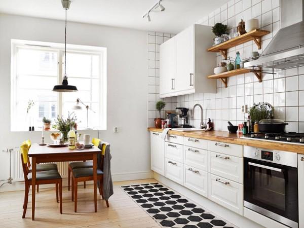 скандинавский стиль в интерьере кухни обеденный стол из дерева
