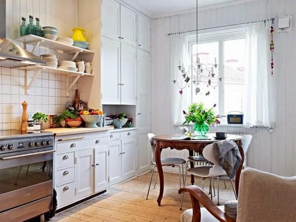 скандинавский стиль в интерьере кухни оригинальная люстра