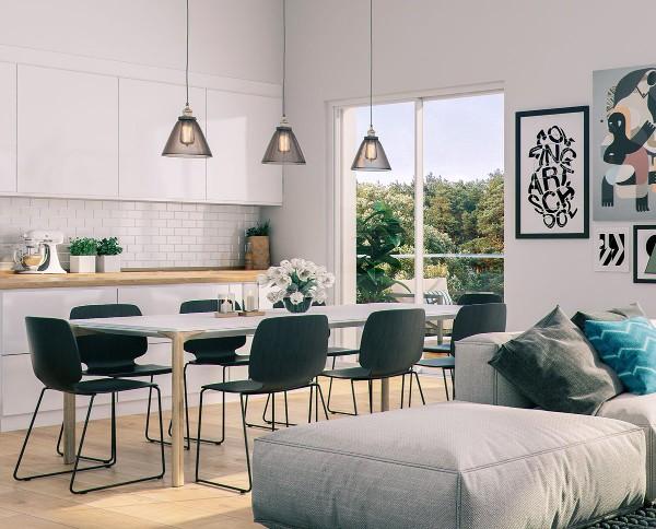 скандинавский стиль в интерьере кухни подвесные светильники