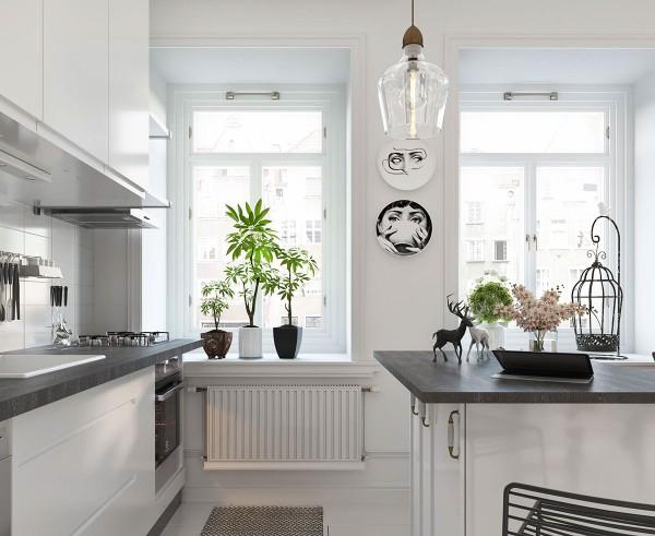 скандинавский стиль в интерьере кухни с островом