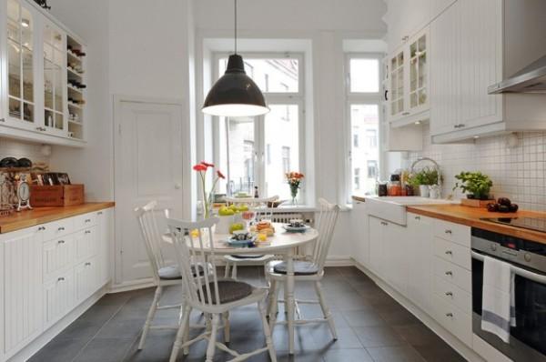 скандинавский стиль в интерьере кухни с тёмным полом