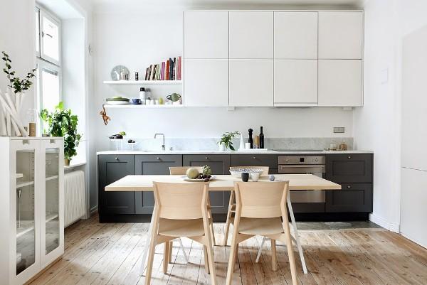 скандинавский стиль в интерьере кухни серо-белый кухонный гарнитур