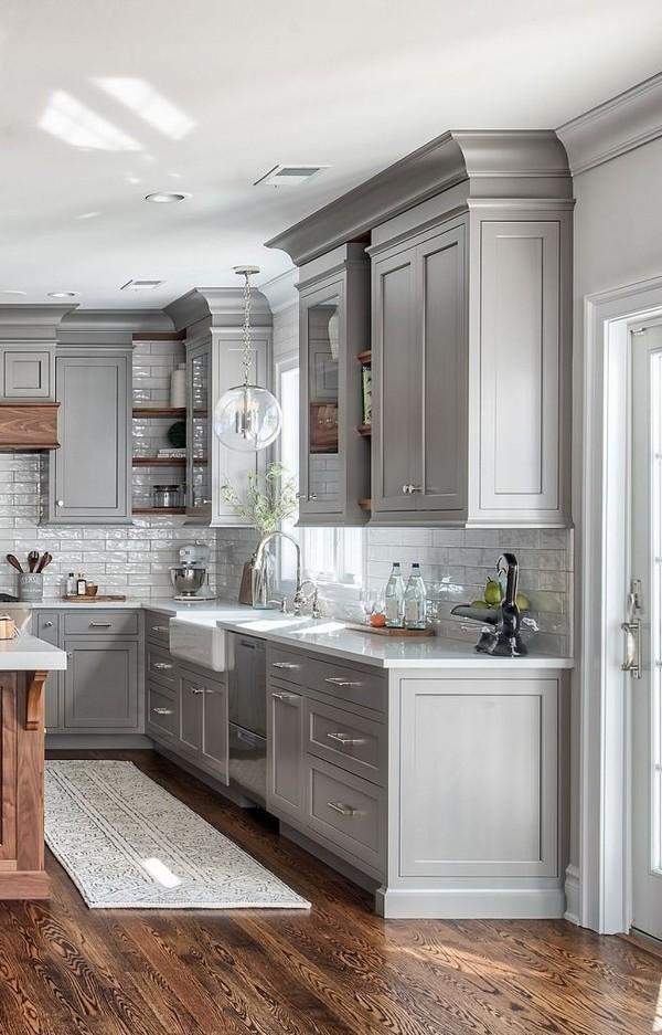 скандинавский стиль в интерьере кухни серый гарнитур