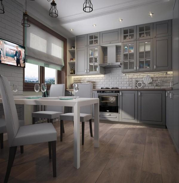 скандинавский стиль в интерьере кухни серый цвет