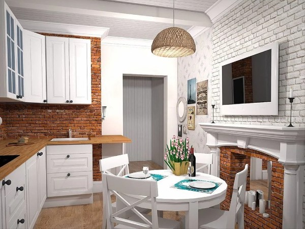 скандинавский стиль в интерьере кухни стена из кирпича без отделки