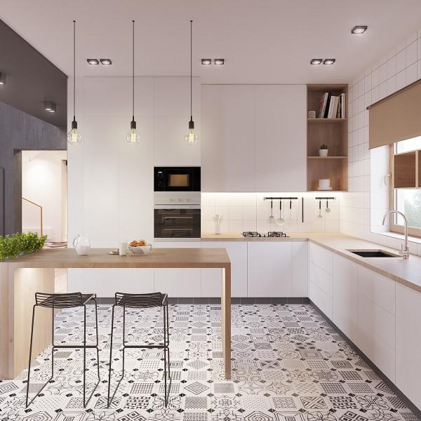 скандинавский стиль в интерьере кухни стильная напольная плитка