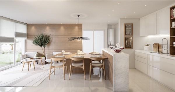 скандинавский стиль в интерьере кухни студии барная стойка как разделитель функциональных зон
