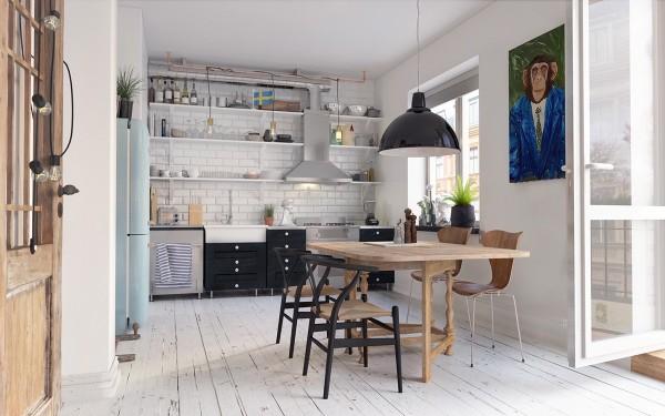 скандинавский стиль в интерьере кухни студии деревянные полы покрашенные в белый цвет