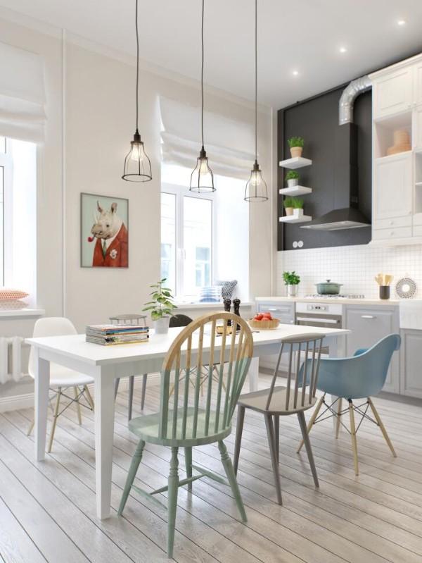 скандинавский стиль в интерьере кухни студии дизайнерский стулья