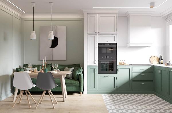 скандинавский стиль в интерьере кухни студии интересный дизайн