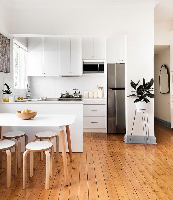 скандинавский стиль в интерьере кухни студии напольное покрытие светлое дерево