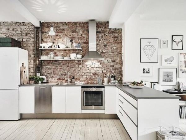 скандинавский стиль в интерьере кухни студии отделка кирпичная кладка