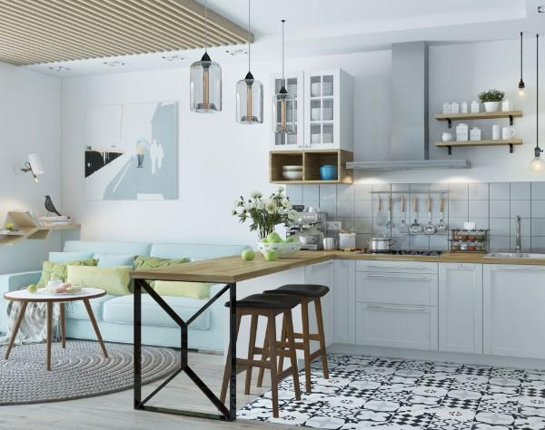 скандинавский стиль в интерьере кухни студии с барной стойкой