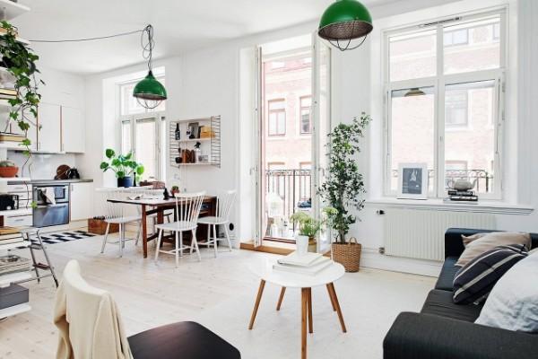 скандинавский стиль в интерьере кухни студи с панорамными окнами