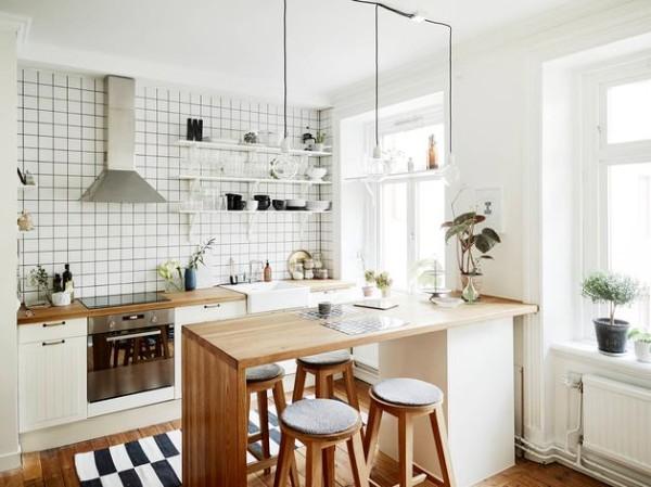 скандинавский стиль в интерьере кухни студии светлый дизайн