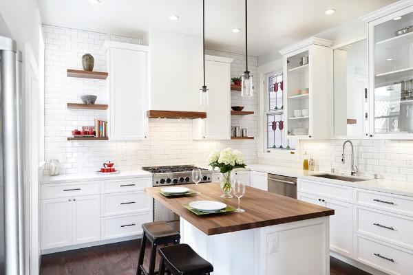 скандинавский стиль в интерьере кухни угловой гарнитур с островом