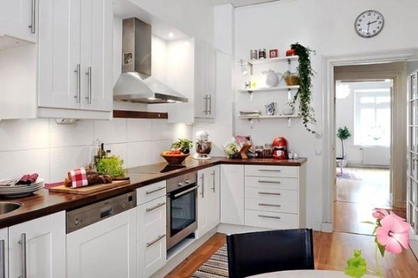 скандинавский стиль в интерьере кухни угловой гарнитур