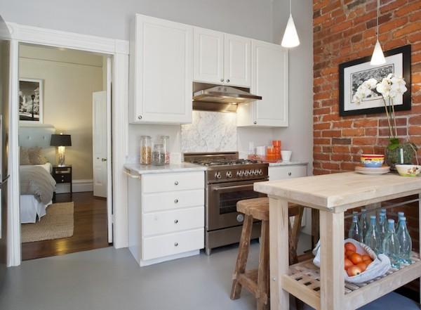 скандинавский стиль в интерьере маленькой кухни эффектный стол из необработанной древесины