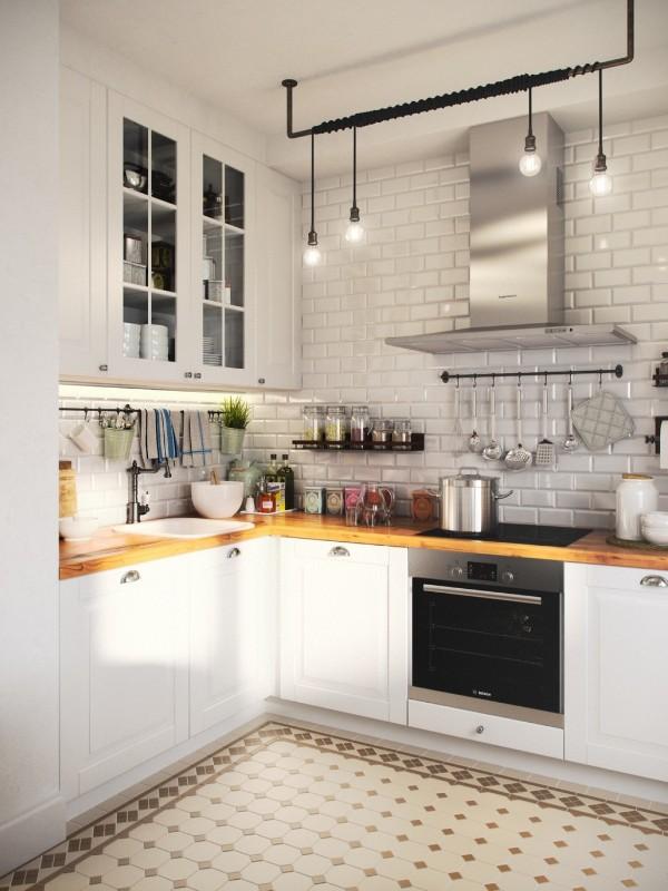 скандинавский стиль в интерьере маленькой кухни интересный дизайн освещение