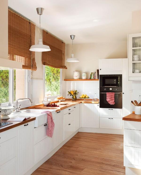 скандинавский стиль в интерьере маленькой кухни светлое помещение