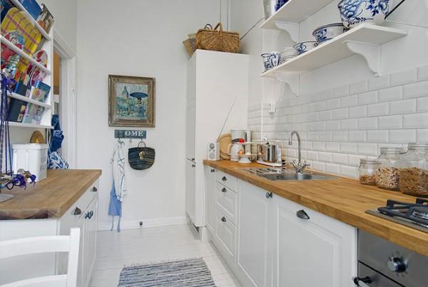 скандинавский стиль в интерьере маленькой узкой кухни