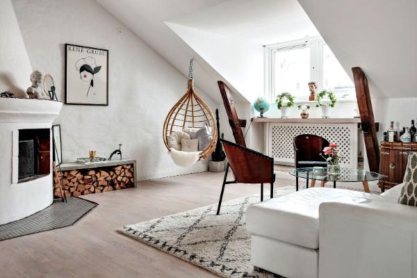 скандинавский стиль в интерьере мансарды