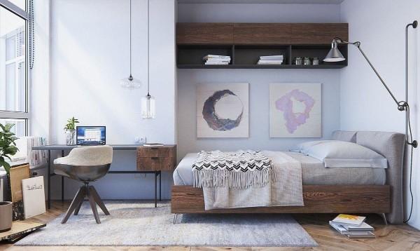 скандинавский стиль в интерьере небольшой спальни