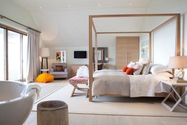 скандинавский стиль в интерьере просторной спальни