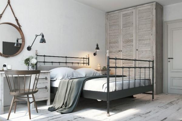 скандинавский стиль в интерьере серой спальни