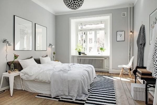 скандинавский стиль в интерьере спальни напольный коврик