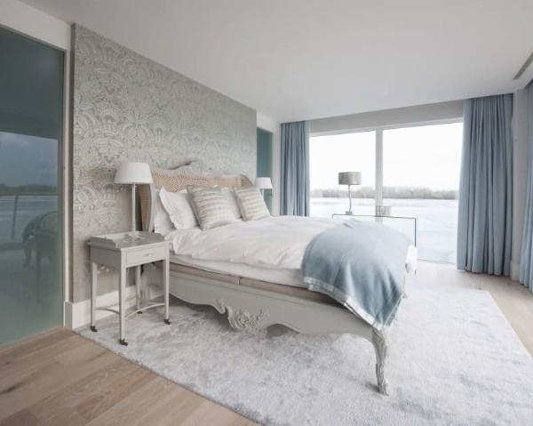 скандинавский стиль в интерьере спальни серо-голубой дизайн