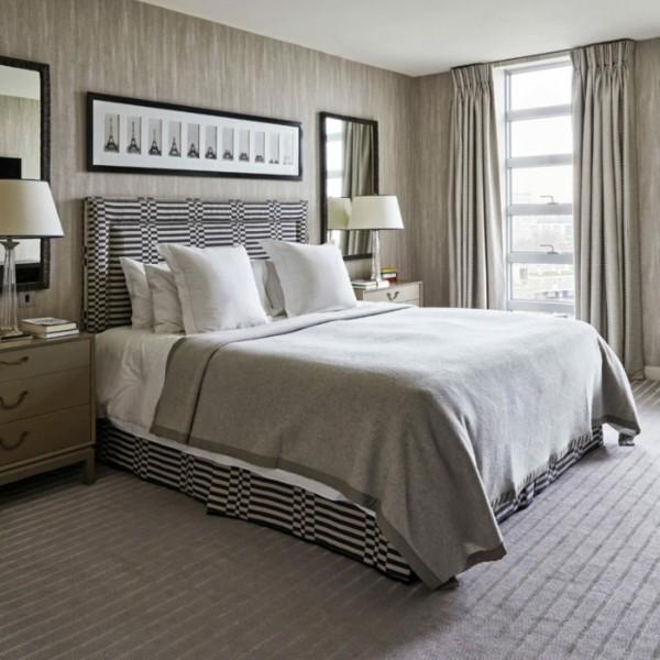 скандинавский стиль в интерьере спальни серый дизайн