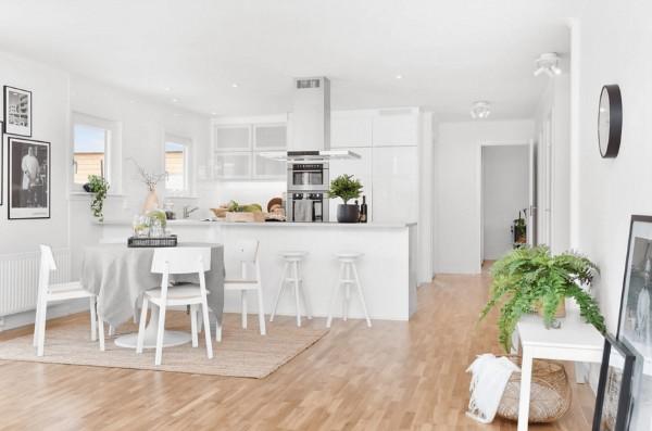 скандинавский стиль в интерьере студии кухня белого цвета