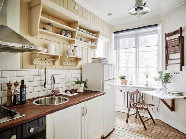 скандинавский стиль в интерьере светлой кухни