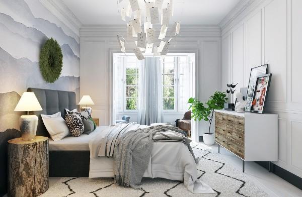 скандинавский стиль в интерьере светлой спальни