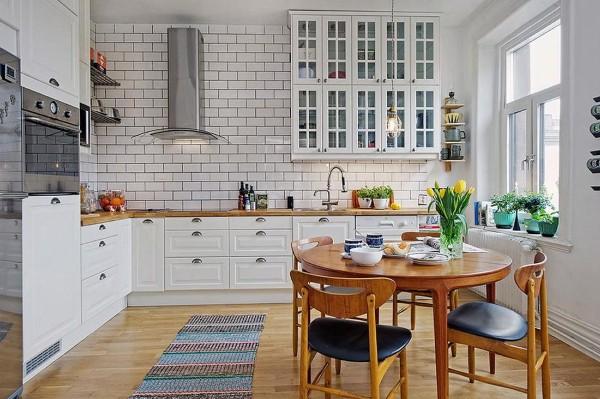 скандинавский стиль в интерьере угловая кухня