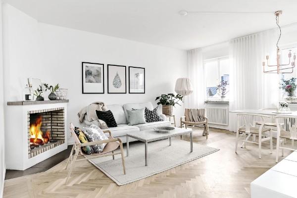 скандинавский стиль в интерьере уютной гостиной