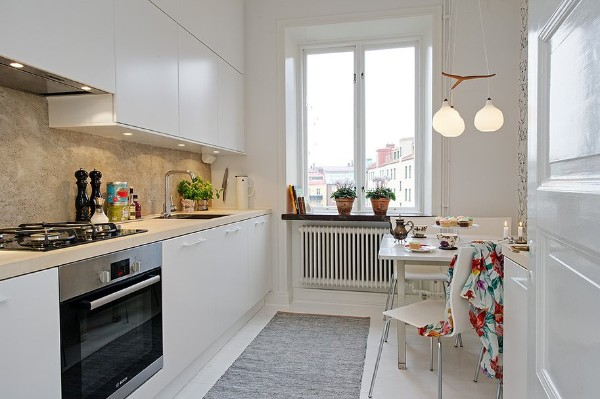 скандинавский стиль в интерьере узкой кухни