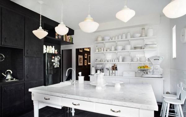 современные обои на кухне чёрно-белый интерьер