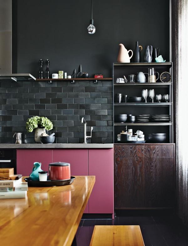 современные обои на кухне чёрный цвет