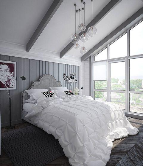 спальни в скандинавском стиле в мансарде