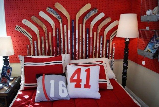спальня изголовье кровати дизайн хоккей