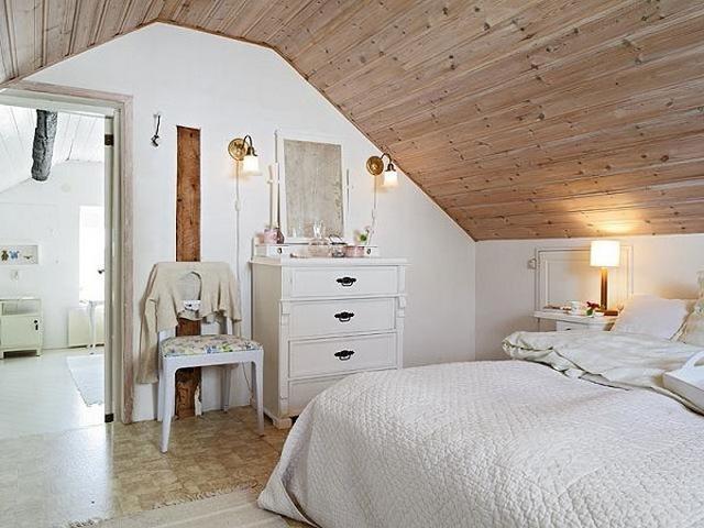 спальня в мансарде фото