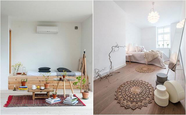 спальня в скандинавском стиле фото элементы бохо шик