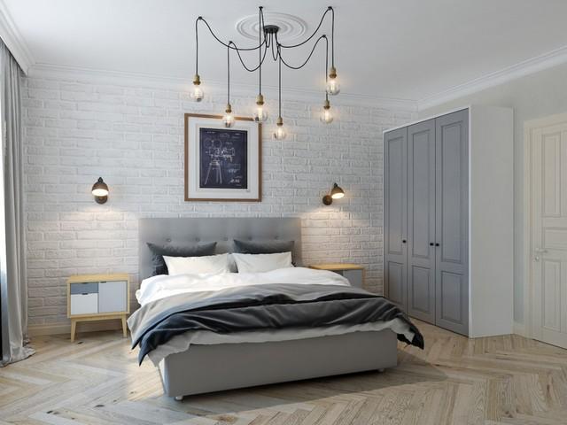 спальня в скандинавском стиле люстра